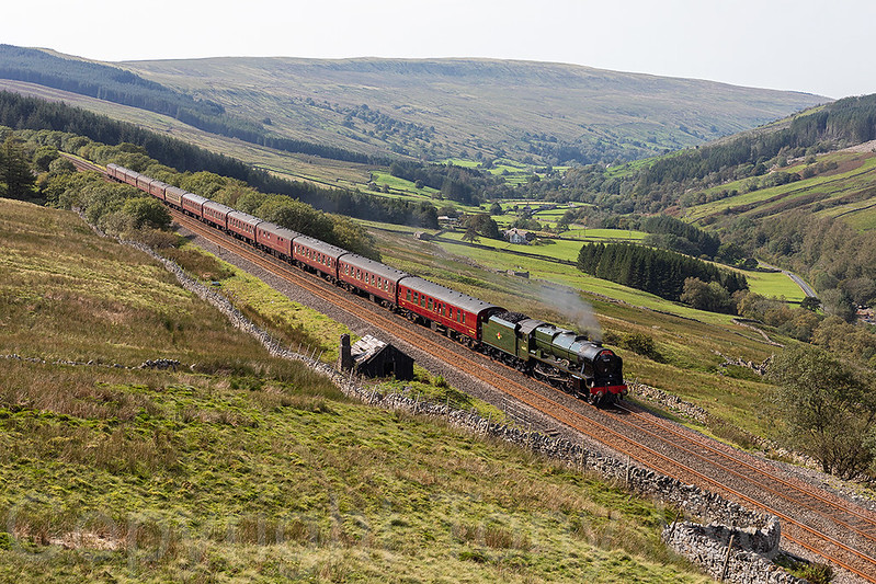 15th September 2020 LMS Royal Scott Class 7P 46115 Scots Guardsman has not long emerged from Rise Hill Tunnel seen in Garsdale with The Dalesman  1Z40 08:32 York - Carlisle