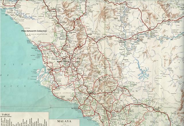 Shell Road Map of Malaya, 1958 - Kuala Lumpur, Selangor, Negri Semilan, Pahang, Malacca