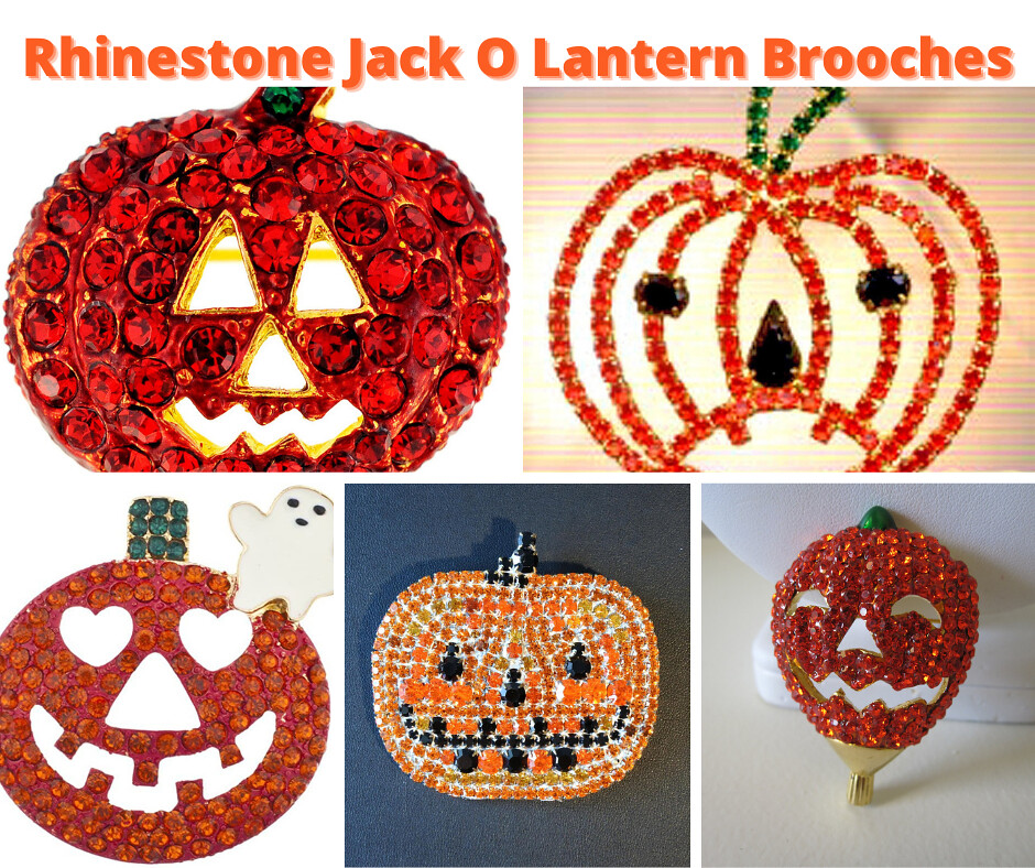 Jack O Lantern Rhinestone Brooches and Pins