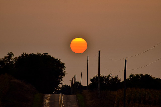 Wildfires having an effect on the sun in northern Indiana