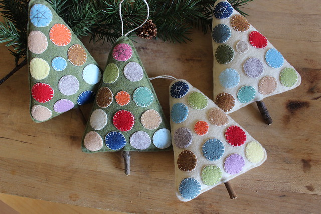 Hand Stitched Rustic Penny Holiday Tree Ornaments