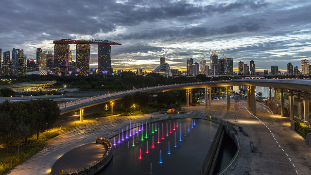 Singapore City Skyline from Barrage at Dusk