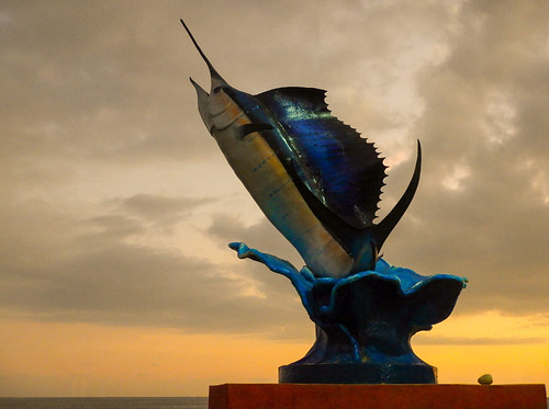 The sailfish statue at sunset in Puerto Escondido, Mexico