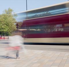 Bus blur pedestrian