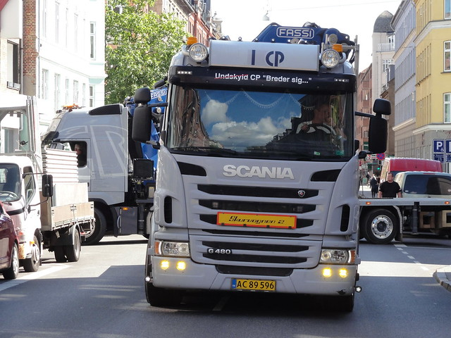 Scania G480 AC89596 blocks road while its co worker manouvres