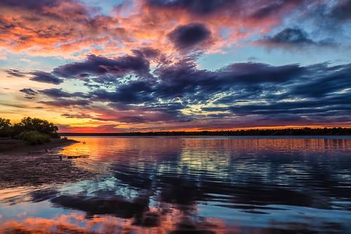 sunrise dawn daybreak clouds reflections mirror pond lakechatfield chatfieldstatepark colorado landscape landscapes