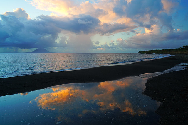 Wonderful sunset clouds reflecting in the pool, Sandy Point, St Kitts
