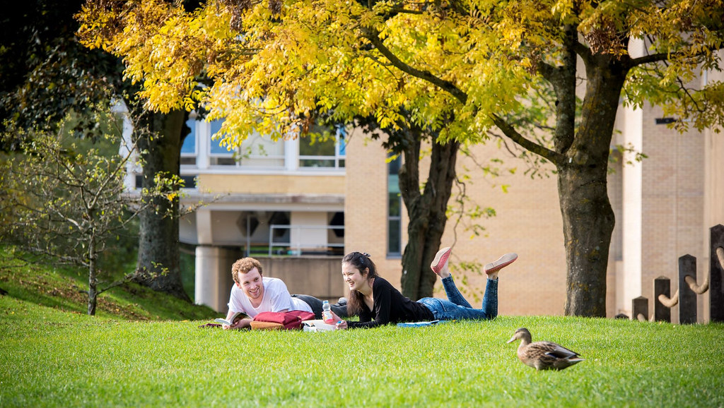 Two students studying outside on the grass under some trees