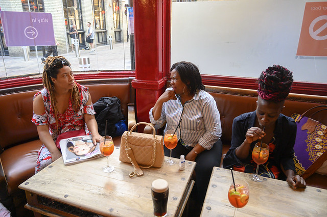 DSC_5770 Alesha and Mary both from Jamaica with Sindy from South Africa out on the Town Cocktail Time Italian Aperol Spiriz Bricklayer's Arms English Pub Shoreditch London Corner of Rivington Street and Charlotte Road EC2