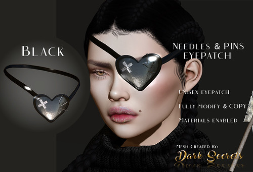 Dark Secrets - Needles & Pins Eyepatch Black