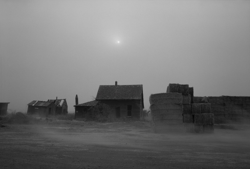 Abandoned Farmhouse in Blowing Dust and Wildfire Smoke, Oregon
