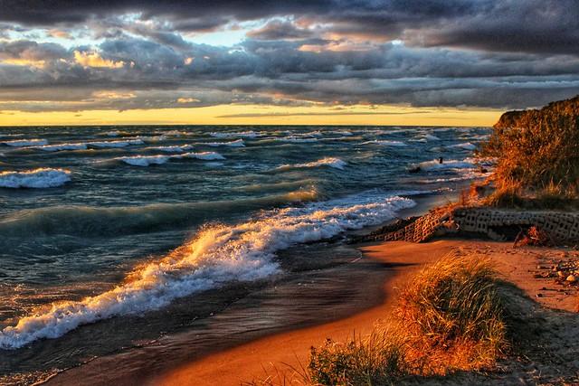Sunset and heavy surf, Lake Michigan, Pierport, Michigan
