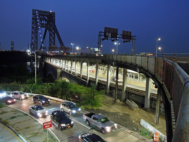 The other day, my girlfriend and I strolled across the George Washington Bridge on its pedestrian walkway to have dinner at a Columbian restaurant on 184th Street. During the walk back to her home, I snapped this shot at rush hour. New York. Sept 2020