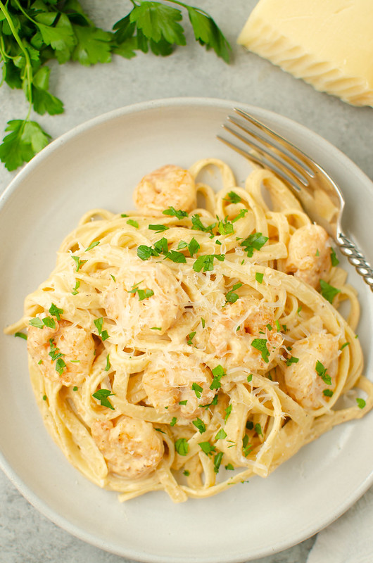 Blackened Shrimp Alfredo - classic shrimp alfredo with a spicy kick! Quick, easy, and on the table in about 30 minutes.