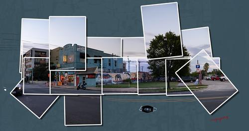austin ciscos panorama texas unitedstates muralart streetart tx usa hockney east6thstreet 6thstreet sixthstreet street tree lightpole neon mask comalstreet