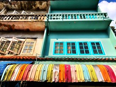Rainbow :rainbow: awning on our #urbanhike this weekend #bangkok
