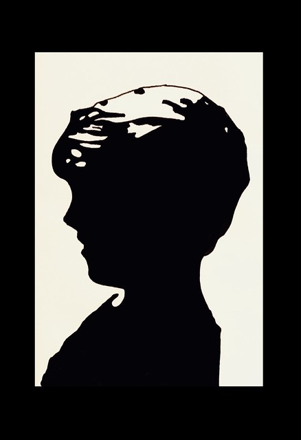 Silhouette portrait of my Grandson. Ink Brush drawing by jmsw.