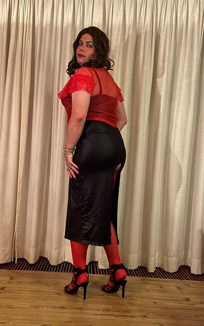long wetlook dress with deep slit
