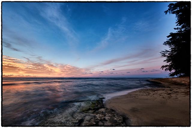 Sunset, Ke'e Beach, Haena, Kauai.