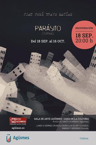 """Cartel de la exposición """"Parásito (Coral)"""", de Juan José Bravo Matías, en la Sala de Arte Agüimes"""