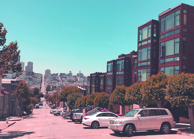 Telegraph Hill views of Russian Hill retro vintage effect, San Francisco