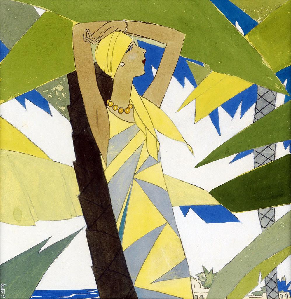 """GARCÍA BENITO, Eduardo.  """"Among the Palms."""" Cover of Vogue, Jan. 1927"""