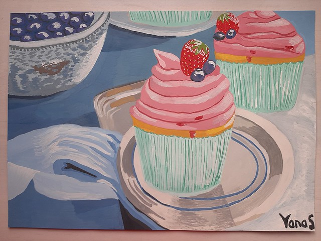 Strawberry & blueberry cupcakes painting