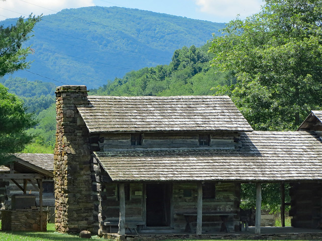 Mountain Behind A Historic Homestead.