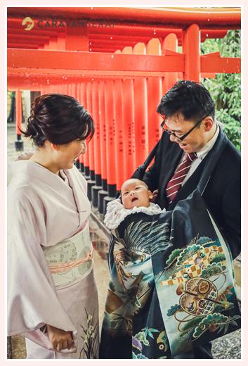 初宮参り 名古屋市昭和区の川原神社 黒のお祝い着