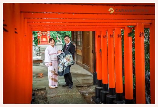 川原神社でお宮参りのロケーション撮影 赤い鳥居 名古屋市昭和区
