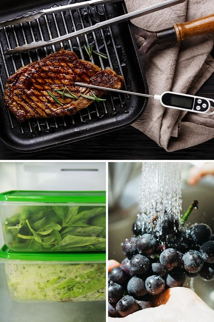 A collage of a steak on the grill, veggies in containers and blueberries washed