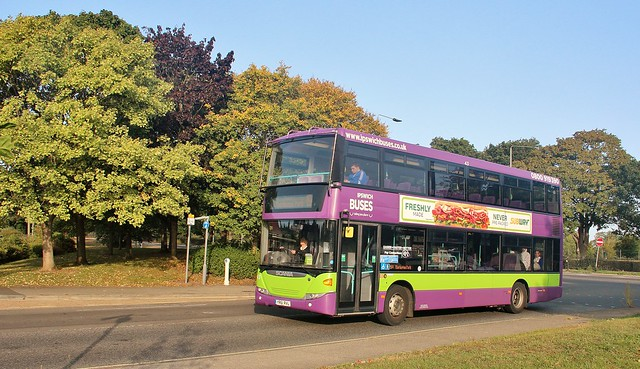 YR61 RVL, Ipswich Buses Scania Omnicity 43, Robin Drive, 17th. September 2020.