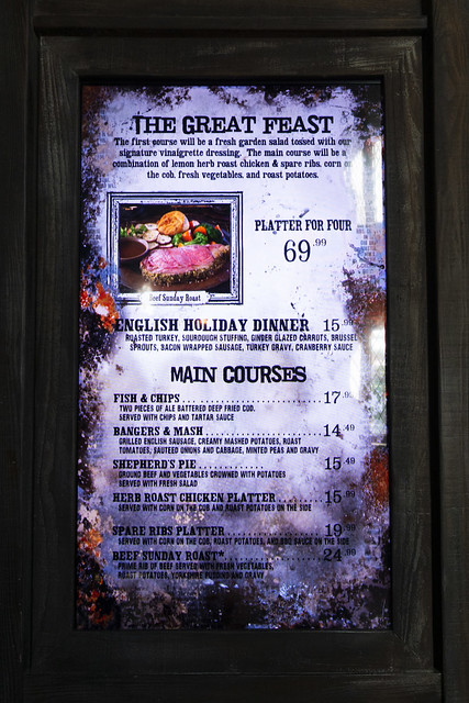 The Three Broomsticks menu
