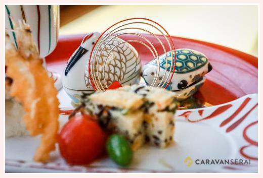 木曽路(和食店)の料理 縁起物のの鶴と亀