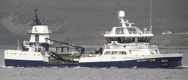Fish carrier Ronja Supporter passing through the narrows of Raasay.