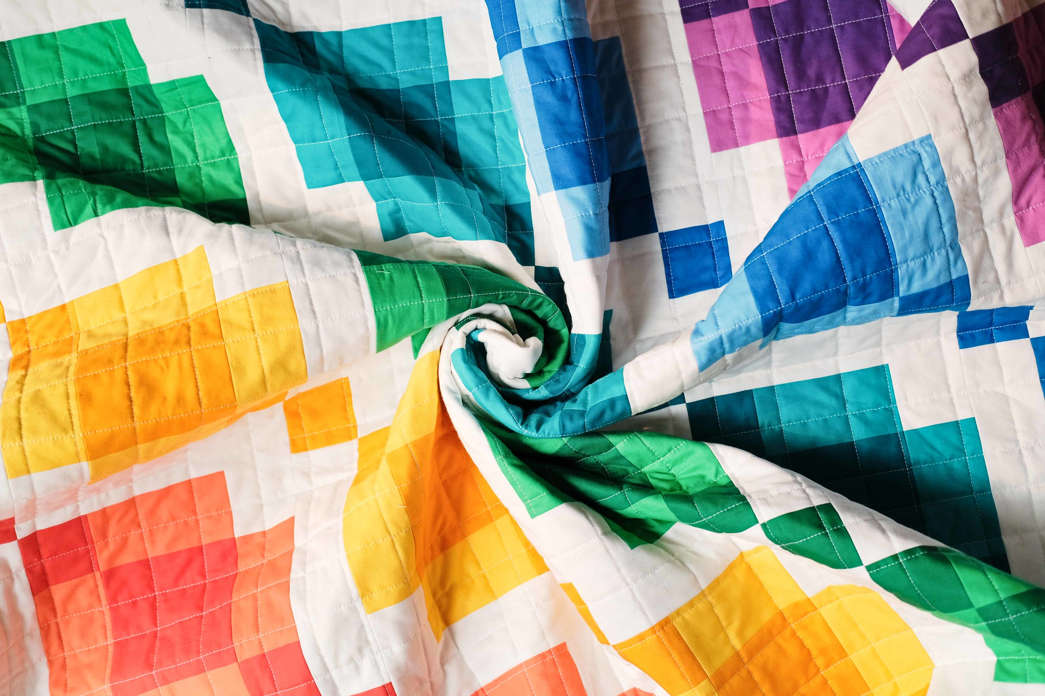 The Kelly Quilt in Rainbow - Kitchen Table Quilting