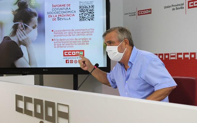 Foto de CCOO de Sevilla. Alfonso Vidán presenta el 'Informe de coyuntura socioeconómica'