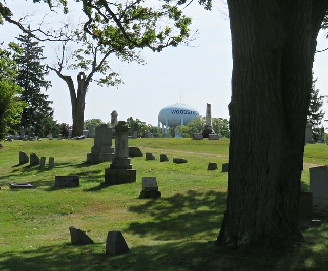 The Woodstock water tower visible over the hill