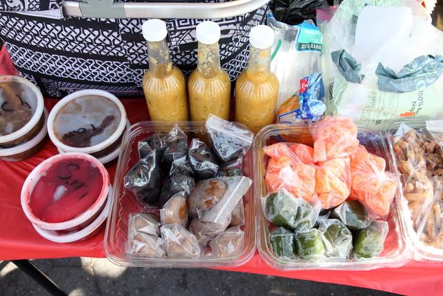 Trinidadian street vendor's table, Crown Heights, Brooklyn