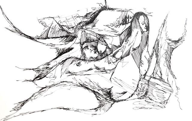 Mermaids #sketch #sketchbook #illustration #penandink #ink #progressive #scribbleart #art #graphicart #abstractart #nonsense #mermaid #eroticillustration #eroticart #erotic