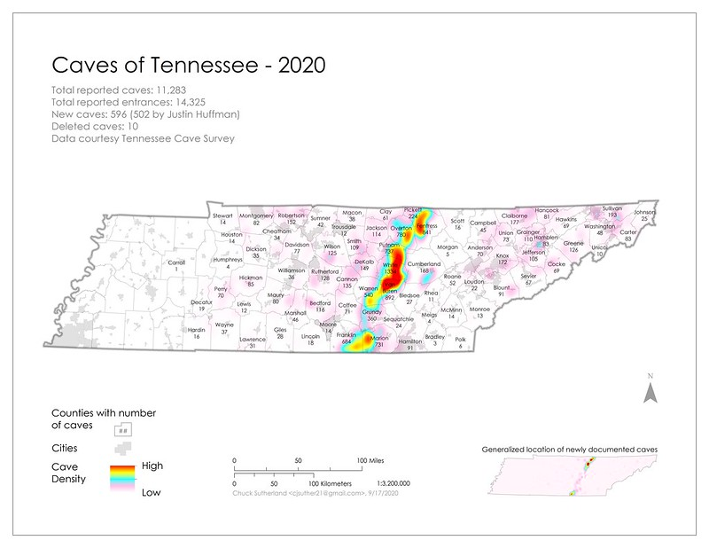 Tennessee Cave Distribution Map, data 2020