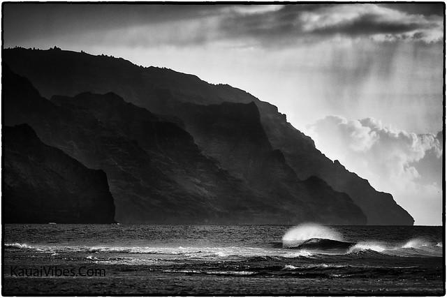 Ke'e Beach, Kauai, Black & White.