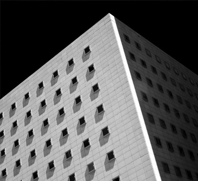 Squares on a Cube, Federal Court Building, Houston (infrared)