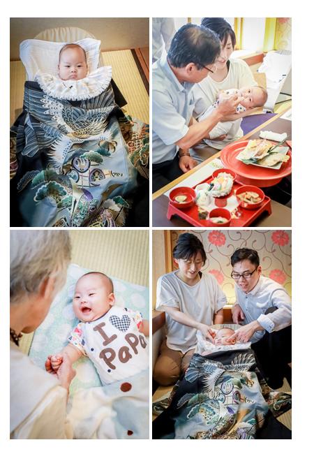 生後100日を記念してお宮参りとお食い初め 男の子の赤ちゃん