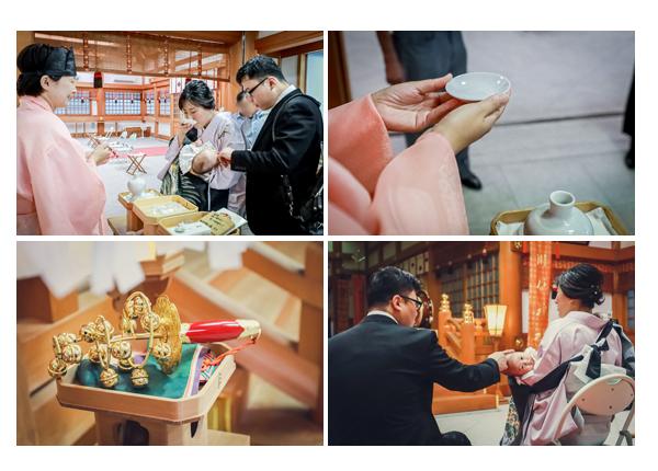 川原神社でお宮参り ご祈祷の後はお神酒をいただく 名古屋市昭和区