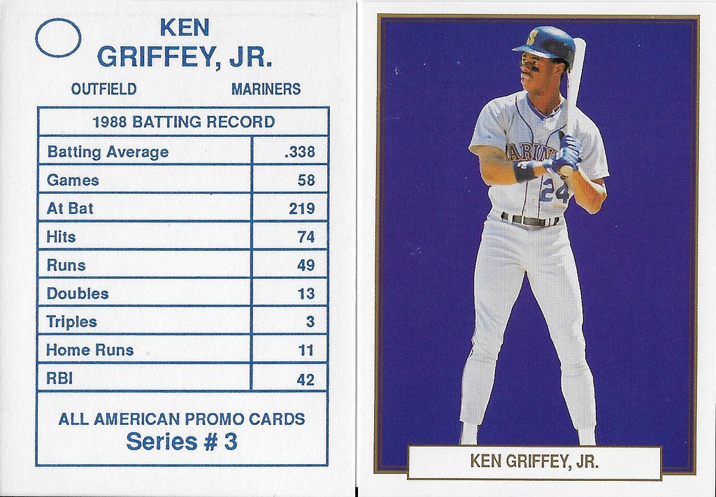 1989 All-American Promo Cards Series 3 #07 (No # on back variation) -Griffey Jr