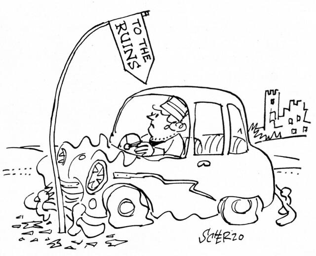 Meccano Magazine Cartoon 1962 Ruined Car