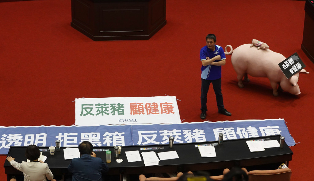 立法院今(18日)開議,國民黨團搬來豬隻模型反對開放含瘦肉精美豬進口。孫文臨攝