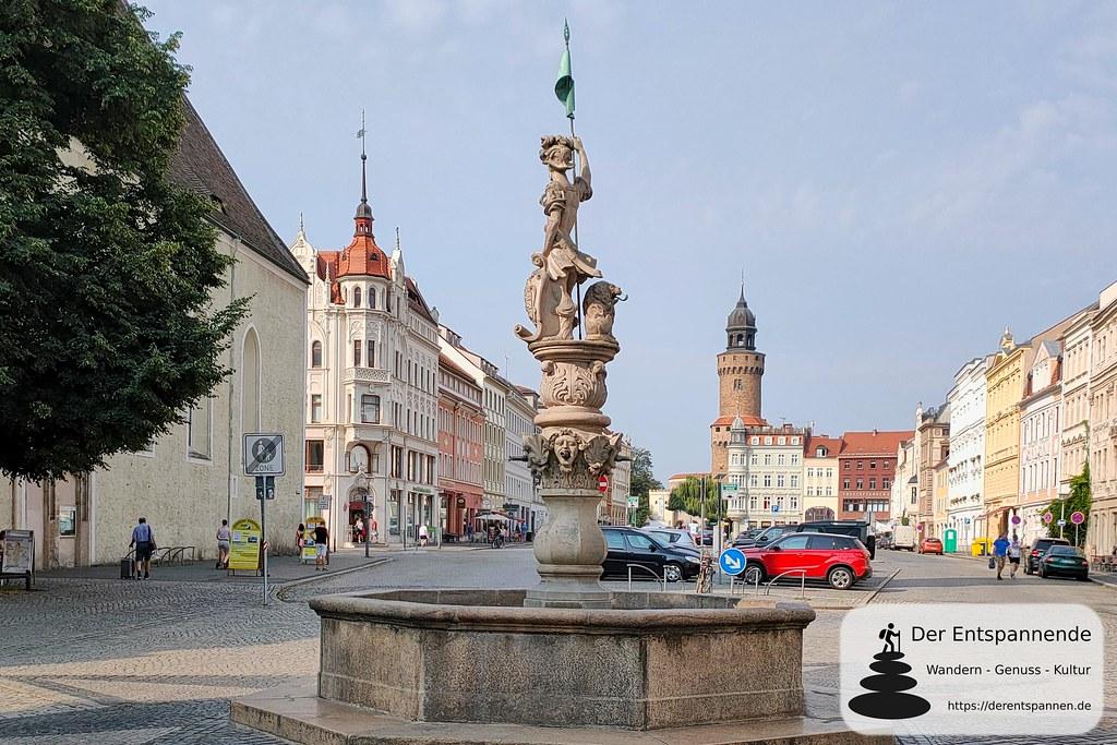 Georgsbrunnen auf dem Obermarkt, Reichenbacher Turm im Hintergrund