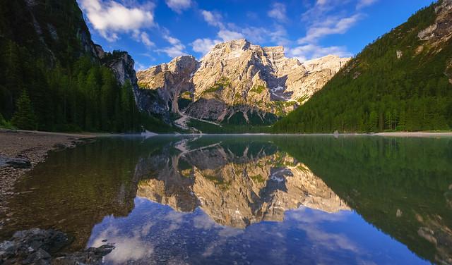 Braies Lake at sunrise, Dolomites mountains, Italy